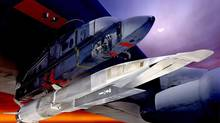An undated U.S. Air Force handout graphic depicts the X-51A Waverider under the wing of a B-52 Stratobomber. Scramjets on test vehicles like the Waverider use atmospheric air to create thrust but must be accelerated to their operating speed by normal jet engines or rockets before they kick in, whereas the Sabre engine can operate from a standing start. (Handout/Reuters)
