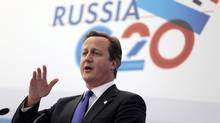 British Prime Minister David Cameron speaks during a media conference after a G-20 summit in St. Petersburg, Russia on Friday, Sept. 6, 2013. World leaders discussed Syria's civil war at the summit but looked no closer to agreeing on international military intervention to stop it. (Ivan Sekretarev/AP)