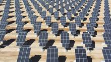 Some of the 70,000 solar panels generating electricity for the Nellis Air Force Base at Las Vegas, Nev. (HANDOUT/REUTERS)