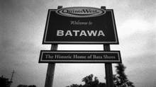 BATAWA.JUNE.17.2009 PHOTOS SHOT ON 4X5 SHEET FILM WITH PINHOLE CAMERA. Just outside of town on Hwy 33 is the sign for the town of Batawa. Located north of Trenton, the town was founded by Tomas Bata where he located his factory which closed up in 1999. Today, Carlton University architecture students are coming up with ideas on what to do with the building. PHOTO BY FRED LUM/ GLOBE AND MAIL BLACK AND WHITE FILM IMAGE (Fred Lum/Fred Lum/THE GLOBE AND MAIL)