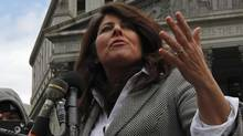 Author and political consultant Naomi Wolf speaks to reporters during a news conference outside the Federal Court in Manhattan March 29, 2012. (Reuters)