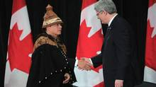 Prime Minister Stephen Harper shakes hands with Shawn Atleo, National Chief of the Assembly of First Nations, on Jan. 24, 2012. (SEAN KILPATRICK/THE CANADIAN PRESS)