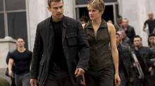 Shailene Woodley, right, as Tris and Theo James as Four in the second instalment of the Divergent series: Insurgent. (Andrew Cooper/eOne)