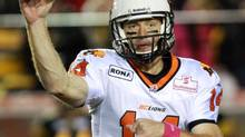 B.C. Lions quarterback Travis Lulay throws a pass during first half CFL action against the Hamilton Tiger-Cats, in Hamilton, Ontario, on Friday, Oct. 12, 2012. (Dave Chidley/THE CANADIAN PRESS)