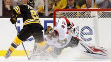 Senators goalie Craig Anderson stops Bruins right wing David Pastrnak during the shootout on April 6, 2017. (Winslow Townson/USA Today Sports)