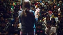 Molly Burke is a Me to We Speaker and ambassador of Free The Children speaks at the Vancouver Technical Secondary School in Vancouver October 12, 2012. (John Lehmann/The Globe and Mail)