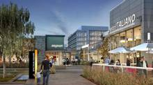 At the centre of Spectrum Square, a pedestrian-friendly restaurant campus. To be connected to a planned bus rapid transit line, this Mississauga project breaks all the conventions of the isolated, service-less office park that can be reached only by car. (Jones Lang Lasalle Canada)