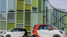 Daimler recently introduced new versions of the Smart forfour, left, and fortwo