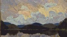 Detail of painting bought at a garage sale and believed to be the work of artist Tom Thomson. (CP)