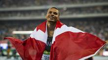 Canadian Andre De Grasse after winning bronze in the men's 100m race during Rio Olympics August 14, 2016. (John Lehmann/The Globe and Mail)