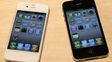 New iPhone 4 models are displayed after Apple CEO Steve Jobs unveiled it during the Apple Worldwide Developers Conference in San Francisco, California, June 7, 2010. (ROBERT GALBRAITH/REUTERS)