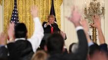 President Donald Trump calls on a reporter during a news conference, Thursday, Feb. 16, 2017, in the East Room of the White House in Washington. (Andrew Harnik/AP)
