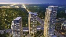 The buildings and landscaping are being arranged to give the area new 'gateways' and 'focal points.'renderings of the changes being made to Parkway Forest at Sheppard and Don Mills Emerald City 3 Towers View.jpg (WZMH Architects)