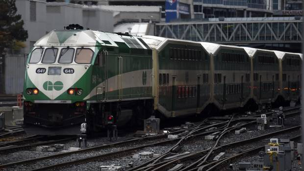 A westbound GO Train leaves Union Station on April 22 2015. (Fred Lum/The Globe and Mail)