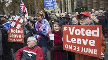 Pro-Brexit demonstrators protest outside the Houses of Parliament on November 23, 2016 in London, England. (Jack Taylor/Getty Images)