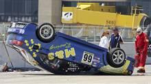 Gary Kwok's upside-down Evo at ICAR Circuit in Mirabel, Que. Credit: CTCC