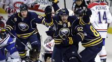 Buffalo Sabres' Thomas Vanek (26) of Austria, celebrates his game-tying goal with seconds left against the Montreal Canadiens during the third period of an NHL game in Buffalo, N.Y., Thursday, Feb. 7, 2013. The Sabres won 5-4 in a shootout. (David Duprey/AP)