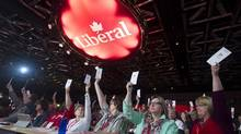 Federal Liberal party delegates vote on a resolution during the party's convention in Montreal, Fed. 23, 2014. (Graham Hughes/THE CANADIAN PRESS)