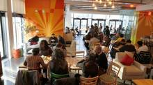 Pay-what-you-can buffets draw a wide range of diners from the neighbourhood: from high-schoolers to devout Muslims to artists from the Daniels Spectrum. (Fernando Morales/The Globe and Mail)