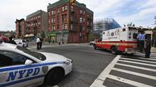 The NYPD said it was investigating a report that two emergency medical technicians jumped in to stop four police officers who were punching a handcuffed patient. (Shannon Stapleton/Reuters)