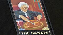A painted sign for The Banker public house is seen in the City of London Feb. 19, 2013. Britain lobbied unsuccessfully against an EU ceiling on bankers' bonuses. (TOBY MELVILLE/REUTERS)