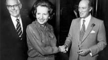 British Prime Minister Margaret Thatcher and her husband Denis Thatcher are greeted by Prime Minister Pierre Trudeau at a dinner in Toronto, Sept. 26, 1983. (Erik Christensen/The Globe and Mail)