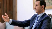 Syria's President Bashar al-Assad speaks during an interview with Croatian newspaper Vecernji List in Damascus, Syria, in this handout picture provided by SANA on April 6, 2017. (SANA/REUTERS)