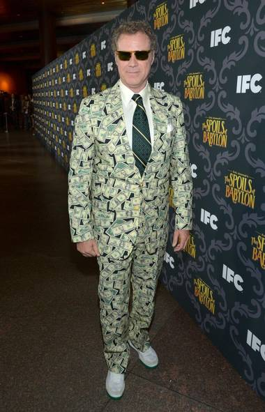 Everyone ready for a brand-new year of making fun of celebrities with needy egos and too much money? In the latter category, here's Will Ferrell at 'The Spoils of Babylon' premiere in L.A. sporting a suit knitted from his 'Anchorman 2' residuals. Looking good, Mr. Burgundy! (John Shearer/Invision for IFC)