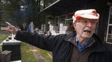 Vladimir Katriuk points at his honeybee farm in Ormstown, Que., Wednesday, April 25, 2012. (Ryan Remiorz/THE CANADIAN PRESS)