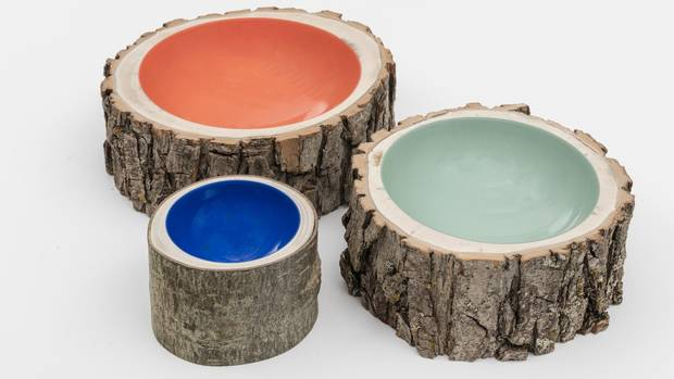 Nature is a source of inspiration common to both Scandinavian and Canadian designers. Calgary-based studio Loyal Loot's 2004 bowls are made from reclaimed logs with centres surreal, bright centres of acrylic paint.
