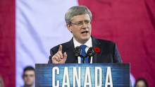 Prime Minister Stephen Harper delivers his keynote address at the 2013 Conservative convention in Calgary on Nov. 1, 2013. (Chris Bolin for The Globe and Mail)