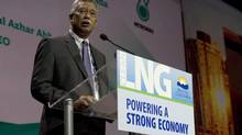 Petronas CEO Shamsul Azhar Abbas speaks at an LNG conference in Vancouver in May. (JONATHAN HAYWARD/THE CANADIAN PRESS)