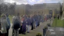 Cellphone shot of part of the long lineup to see Group of Seven show at the Dulwich Picture Gallery in London on Jan. 8, 2012. (Edmund Hutton)