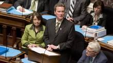British Columbia Finance Minister Colin Hansen tables the provincial budget in the B.C. Legislature in Victoria on Feb. 17, 2009.