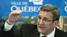 Quebec City Mayor Regis Labeaume responds to reporters questions Tuesday, September 6, 2011 in Quebec City over the signed agreement with Pierre Karl Peladeau and Quebecor on the management of a future arena. (Jacques Boissinot)