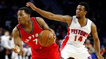 Toronto Raptors point guard Kyle Lowry tries to escape the defense of Ish Smith during the first half at the Palace of Auburn Hills on April 5, 2017, in Auburn Hills, Michigan. (Gregory Shamus/Getty Images)