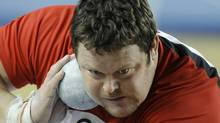 Canada's Dylan Armstrong makes an attempt at the Men's Shot Put qualification during the World Indoor Athletics Championships in Istanbul, Turkey, Friday, March 9, 2012. (AP Photo/Martin Meissner) (Martin Meissner/AP)