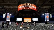Workers prepare for the NDP leadership convention at the Metro Toronto Convention Centre in Toronto, Ont. March 22, 2012. (Kevin Van Paassen/The Globe and Mail/Kevin Van Paassen/The Globe and Mail)