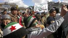 Demonstrators gather during a protest against Syria's President Bashar al-Assad after Friday prayers in Binsh near Idlib on March 2, 2012. (REUTERS/REUTERS)