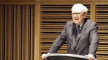 Warren Buffett, chairman of Berkshire Hathaway, speaks on the sale of the Omaha World-Herald company to Berkshire Hathaway Wednesday Nov. 30, 2011 in Omaha Neb. (JEFF BUNDY/The Associated Press)