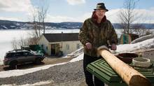 Ralph Loder, preparing a hide to make a Mi'kmaq drum, outside his home in Summerside, Nfld. (Lisa LeDrew Photography For the Globe and Mail)