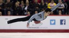 Patrick Chan performs his men's free program in competition at the Canadian Skating Championships Saturday January 11, 2014 in Ottawa. (Adrian Wyld/THE CANADIAN PRESS)