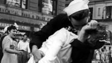 A sailor and a nurse kiss in New York's Times Square as the U.S. celebrates the announcement of the Japanses surrender August 14 1945. (REUTERS)