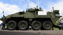 A General Dynamics LAV is seen May 25, 2016, at the CNASEC (Canada's Global Defence and Security Trade Show) in Ottawa. (Dave Chan For The Globe and Mail)