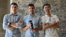 <252>Andrey Khramtsov, left, Alan Kalbfleisch and Kai Chen come from different faculties at Western but teamed to create Pascal Press, a portable coffee press and mug.
