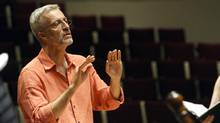 Ivars Taurins is seen in rehearsal with the Tafelmusik Chamber Choir. Taurins, a founding violist with Tafelmusik, helped found the choir, which celebrates its 35th anniversary this season. He has been its one and only leader for its entire history.