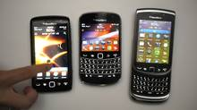 From left: Blackberry 9850, Bold, Torch. (Fred Lum/Fred Lum/The Globe and Mail)