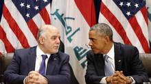 U.S. President Barack Obama meets with Iraqi Prime Minister Haider al-Abadi during the United Nations General Assembly in New York on Sept. 24, 2014. (KEVIN LAMARQUE/REUTERS)