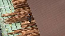 A worker at the Delta Cedar Sawmill in Delta, B.C. (Darryl Dyck/The Canadian Press)