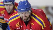 Rick Nash, a locked-out NHL player, attends a training session of Swiss hockey club Davos in Davos, Switzerland, Thursday, Sept. 20, 2012. (Associated Press)